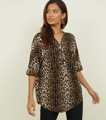 Blue Vanilla Brown Leopard Print Half Zip Top