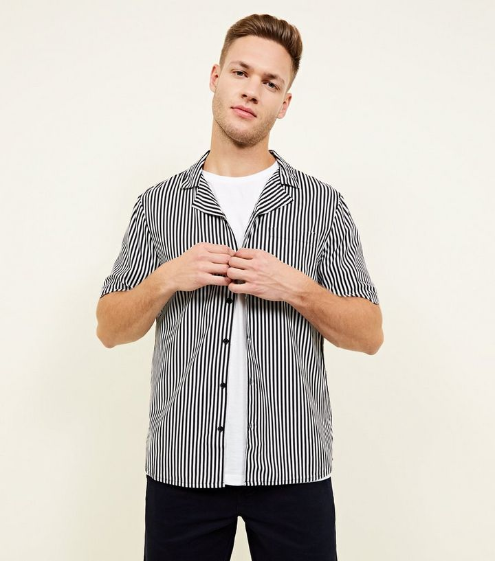 51b5a6b10f Black and White Stripe Viscose Shirt   New Look