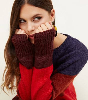 Red Colour Block Stripe Slouchy Jumper
