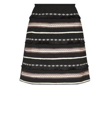Apricot Black Tassel Aztec Tape Stripe Front Skirt New Look