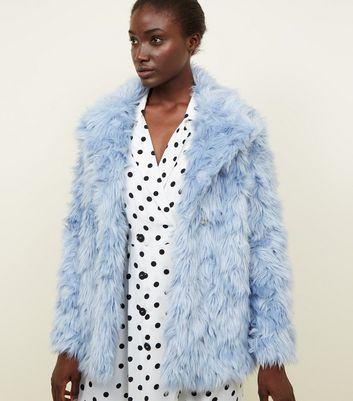 Pale Blue Shaggy Faux Fur Coat
