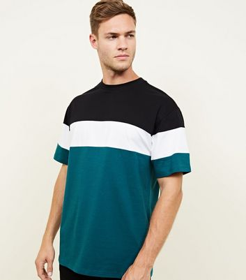 Teal Colour Block T-Shirt