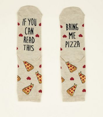 Cream Bring Me Pizza Slogan Socks
