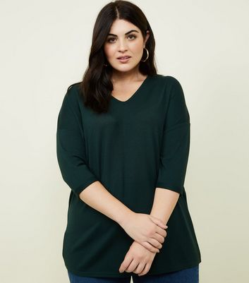 Curves Dark Green Fine Knit Jumper