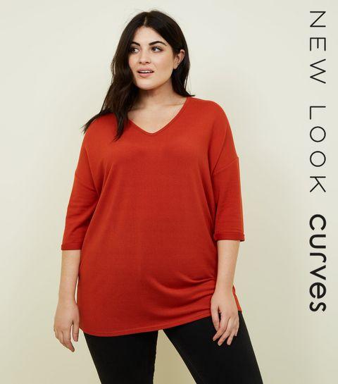852a4b1c89f ... Curves Orange Fine Knit Jumper ...