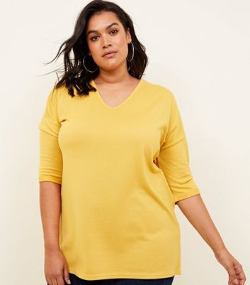 Curves Yellow Fine Knit Jumper