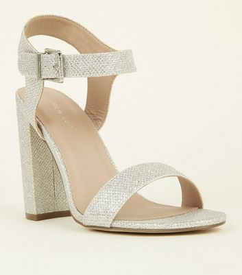 Silver Glitter Two-Part Block Heel Sandals