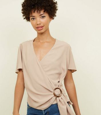 Camel Faux Horn Ring Buckle Wrap Top