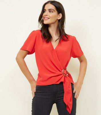 Red Faux Horn Ring Buckle Wrap Top