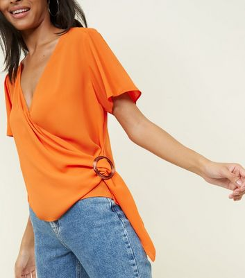 Bright Orange Faux Horn Ring Buckle Wrap Top