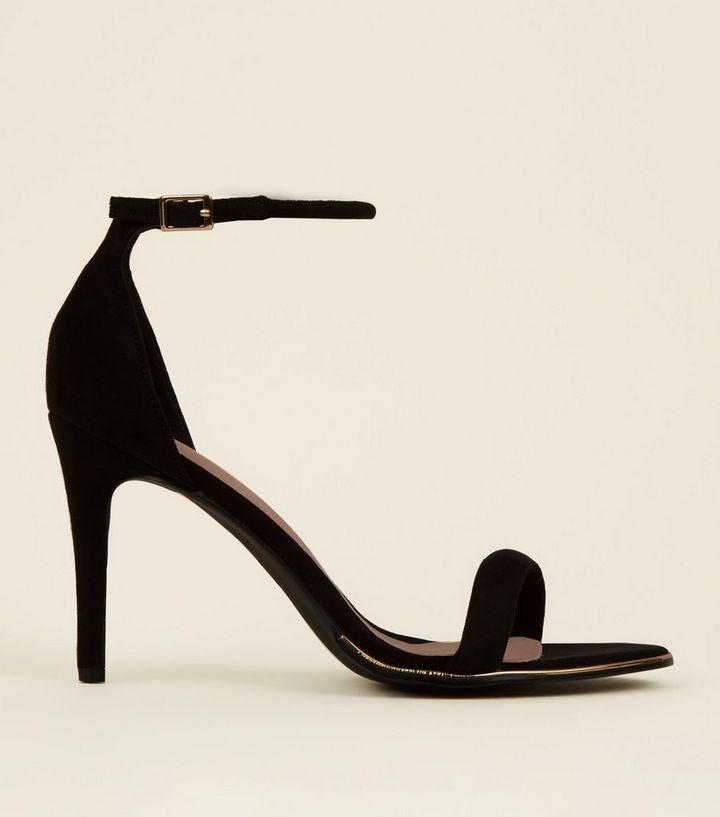 486244f225 Black Comfort Suedette Metal Trim Stiletto Sandals | New Look