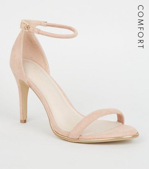 ... Nude Comfort Suedette Metal Trim Stiletto Sandals ... 1a5c7c6ba9