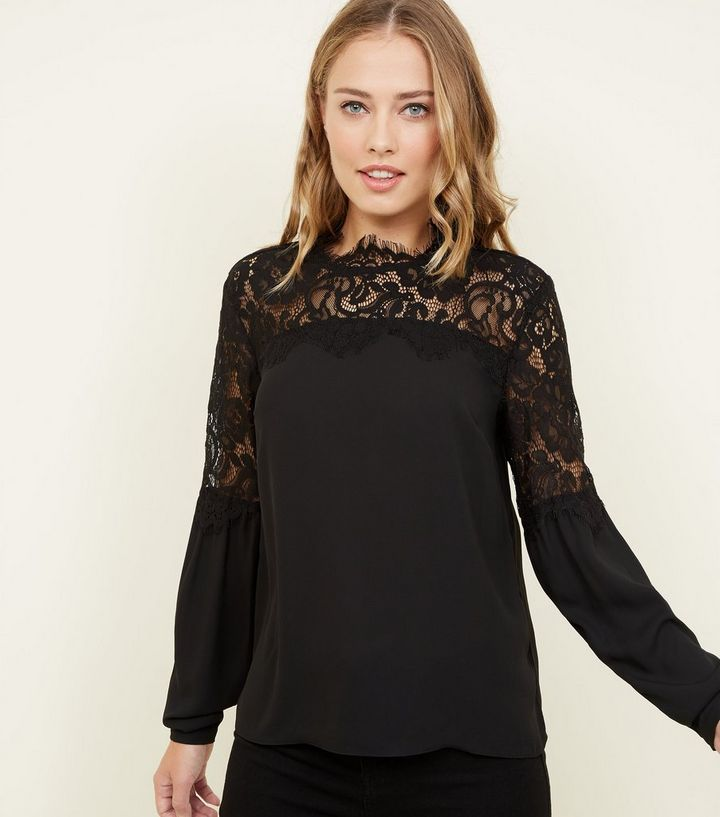 Black Lace Yoke Blouse  22ca71a17