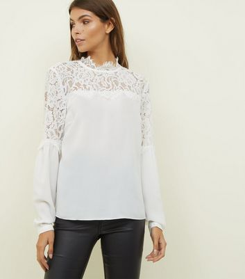 Off White Lace Yoke Blouse