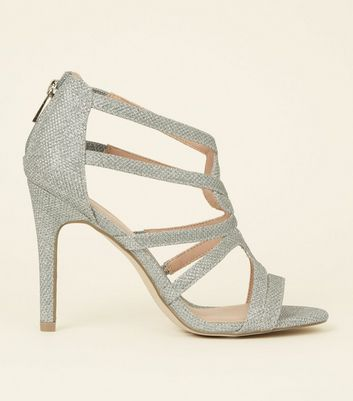 Silver Glitter Strappy Stiletto Sandals