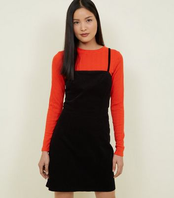 Black Square Neck Corduroy Mini Dress