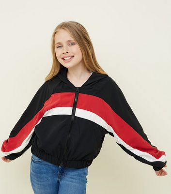 Girls - Veste coupe-vent noire color block