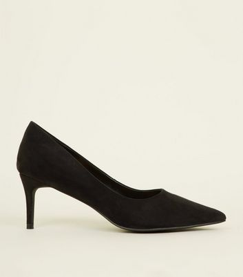 Black Suedette Low Heel Pointed Courts