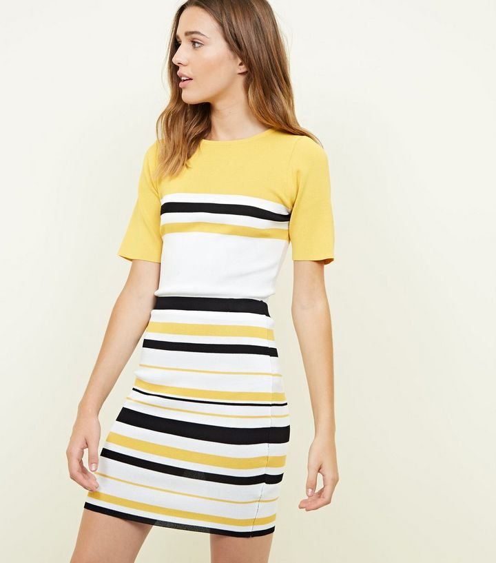 d4772e60aa Yellow Multi Stripe Mini Tube Skirt | New Look