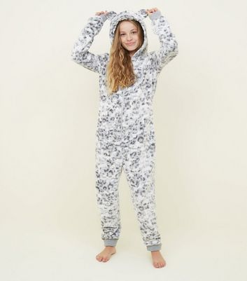 Girls Light Grey Leopard Print Fluffy Onesie