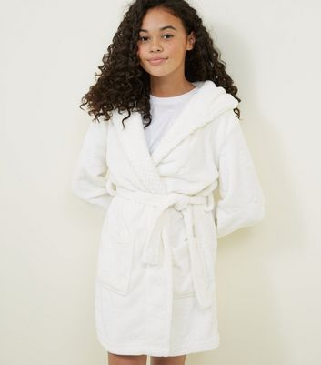 Girls Cream Burnout Star Robe