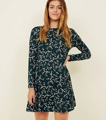 Petite Green Floral Soft Touch Skater Dress