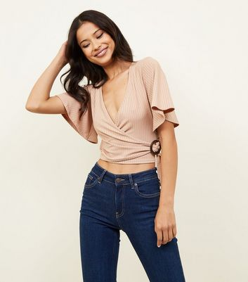 Camel Carly Rib Buckle Wrap Top