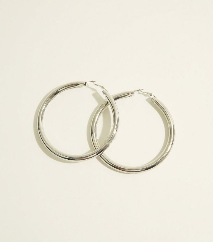 d5b08cf37c939 Silver Chunky Oversized Hoop Earrings Add to Saved Items Remove from Saved  Items