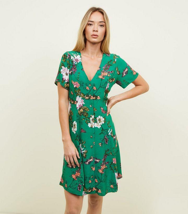 2d271d68d1 Green Floral Butterfly Button Front Tea Dress