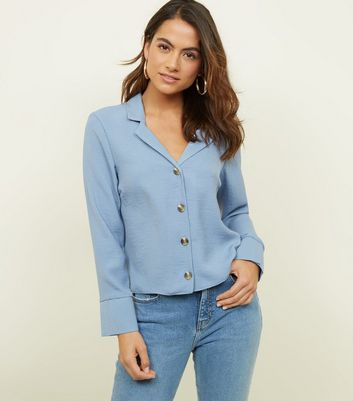 Petite Pale Blue Revere Collar Boxy Shirt