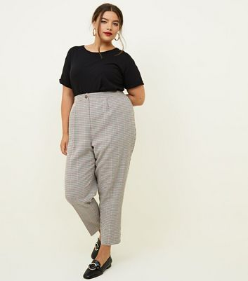 Curves Brown Houndstooth Check Tapered Trousers