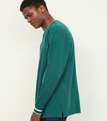 Green Tipped Pique Long Sleeve T-Shirt