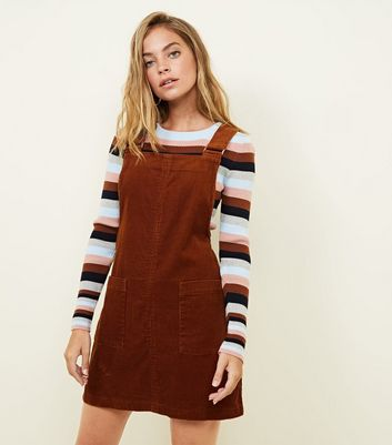 Petite Rust Corduroy Pocket Front Pinafore Dress