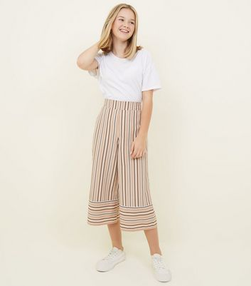 Girls Camel Stripe Culottes
