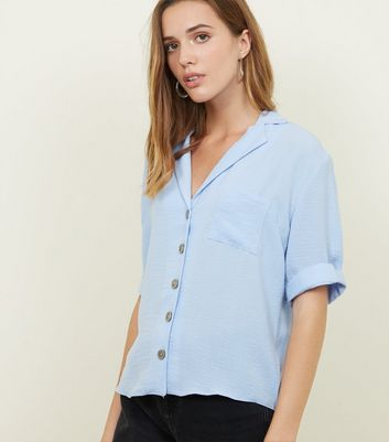 Tall Blue Revere Collar Button Front Shirt
