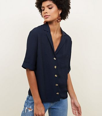 Tall Navy Revere Collar Button Front Shirt