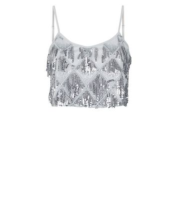 e6d77d07 Silver Diamond Pattern Fringed Sequin Cami | New Look