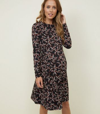 Maternity Black Floral Soft Touch Skater Dress