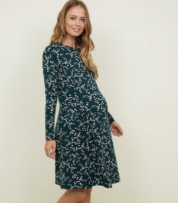 Maternity Green Floral Soft Touch Skater Dress