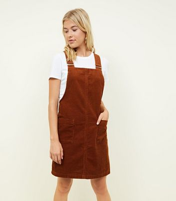 Tall Rust Corduroy Pocket Front Pinafore Dress