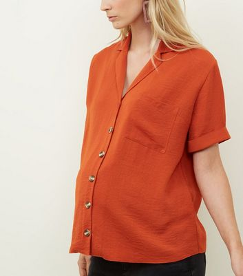 Maternity Orange Button Up Front Short Sleeve Top
