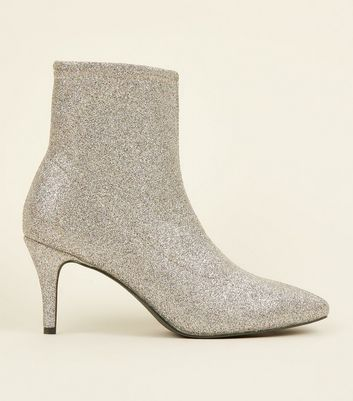 Silver Glitter Kitten Heel Sock Boots