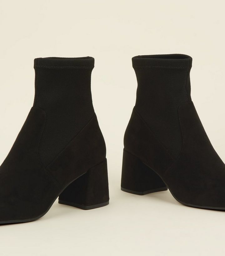 edf79a68bce ... Black Suedette Flared Block Heel Sock Boots. ×. ×. ×. Shop the look