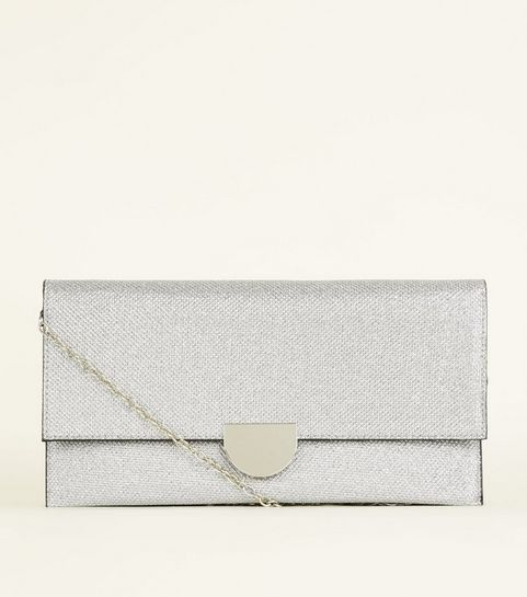 Silver Foldover Clutch Bag