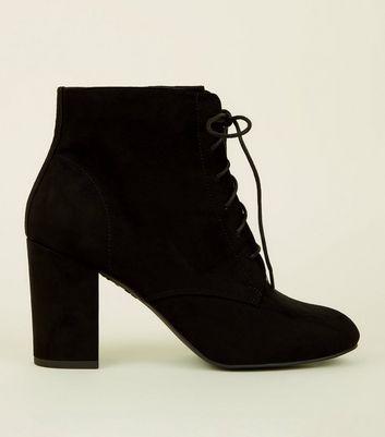 Black Suedette Lace-Up Block Heel Boots