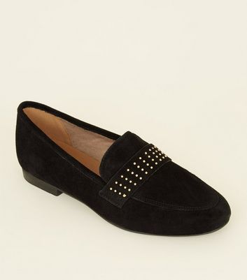 Black Leather Studded Vamp Loafers by New Look