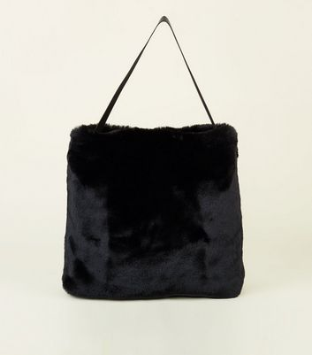 Black Faux Fur Hobo Tote Bag