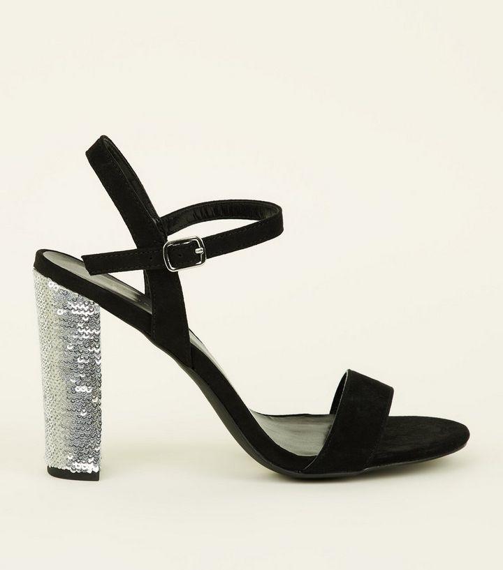 1c34b1ad6 Wide Fit Black Suedette Sequin Block Heel Sandals