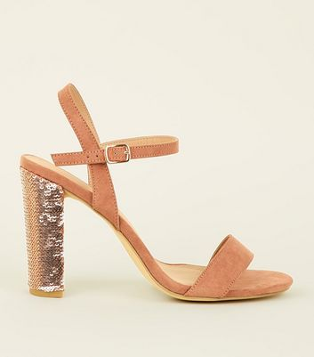 Wide Fit Pink Suedette Sequin Block Heel Sandals
