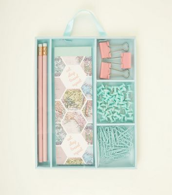 Blue and Pink Maps Themed Stationary Set
